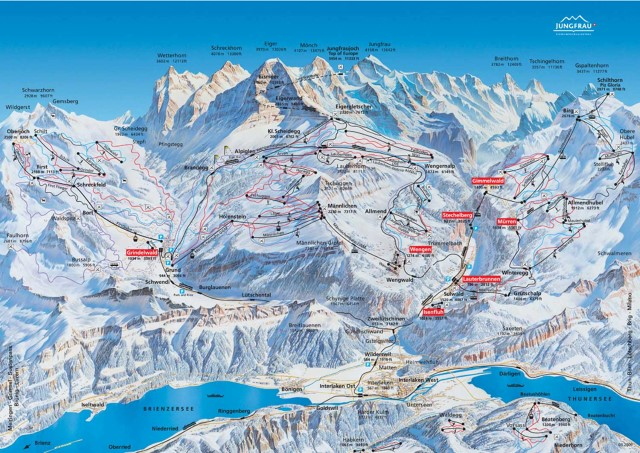 Ski and Snowboard using the Lauterbrunnen trail map