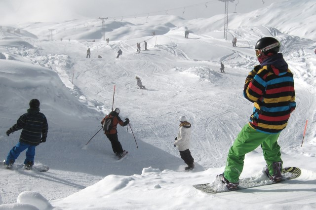 Snowboarders in the Alps