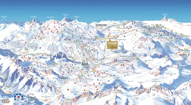 Ski and Snowboard using the Lech trail map