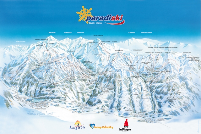 Ski and Snowboard using the Les Arcs trail map