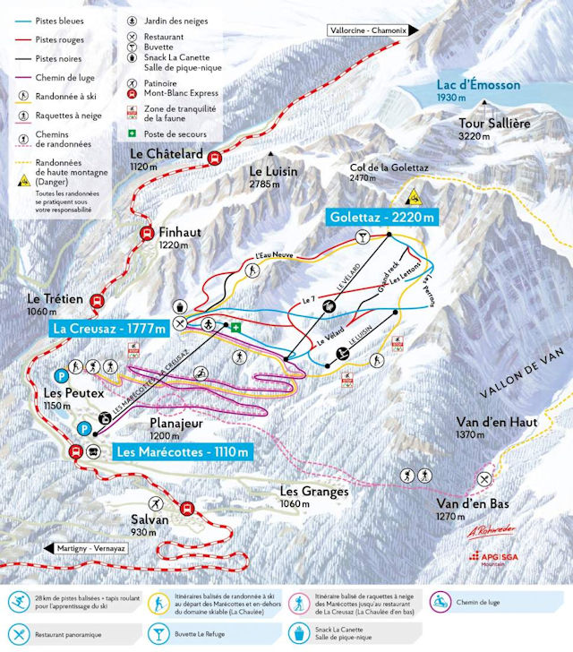 Ski and Snowboard using the Les Marécottes trail map