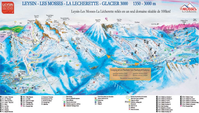 Ski and Snowboard using the Les Mosses trail map