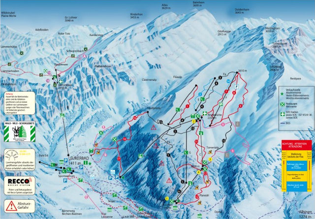 Ski and Snowboard using the Leukerbad trail map
