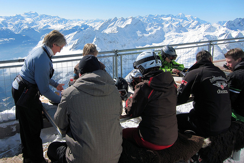 Lunch on Glacier 3000 looking towards Verbier