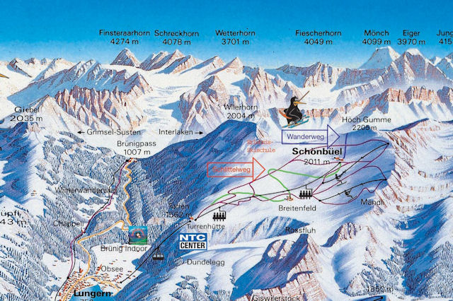 Ski and Snowboard using the Lungern trail map