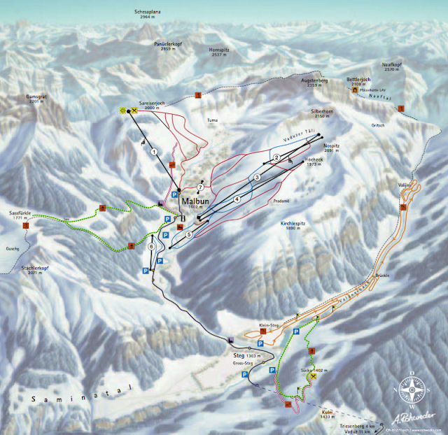 Skiën en snowboarden op Malbun pistekaart
