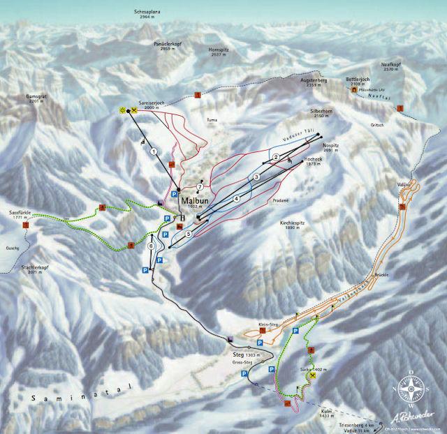 Ski and Snowboard using the Malbun trail map
