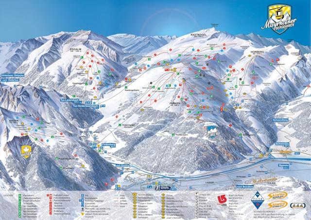 Ski and Snowboard using the Mayrhofen trail map