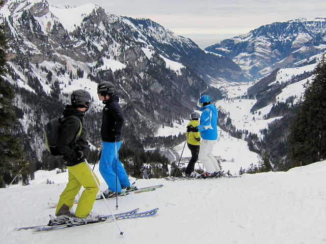 View of winter sports resort in Obwalden