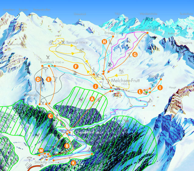 Ski and Snowboard using the Melchsee-Frutt trail map