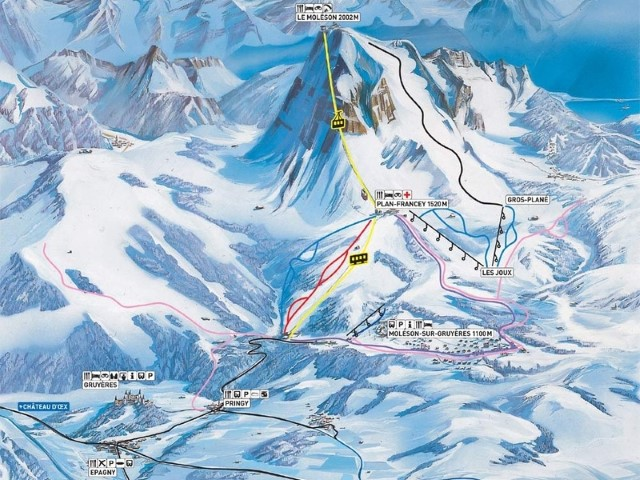 Ski and Snowboard using the Moléson trail map