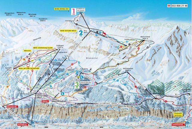 Ski and Snowboard using the Mürren trail map