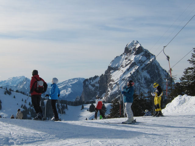 View of winter sports resort in Schwyz