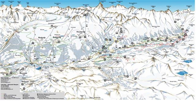 Ski and Snowboard using the Goms trail map