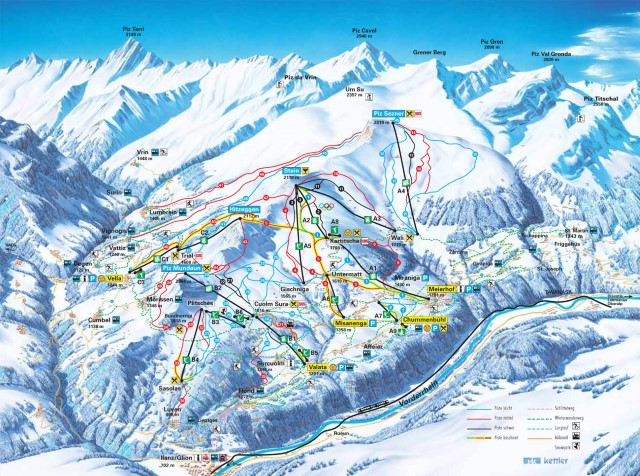 Ski and Snowboard using the Obersaxen trail map