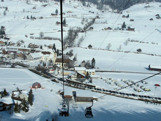 View of winter sports resort in St Gallen