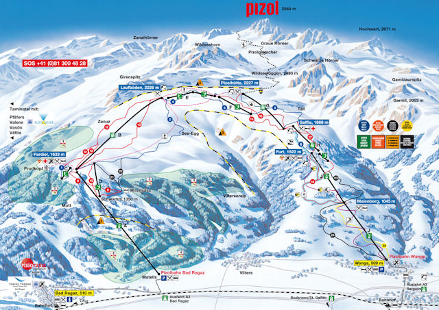 Ski and Snowboard using the Pizol trail map