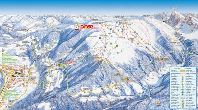 Ski and Snowboard using the Plose Brixen trail map