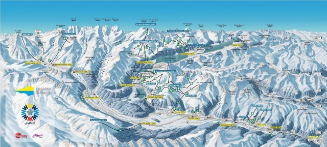 Ski and Snowboard using the Pontresina trail map
