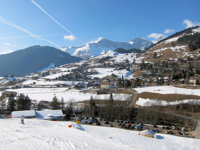 View of winter sports resort in Vaud
