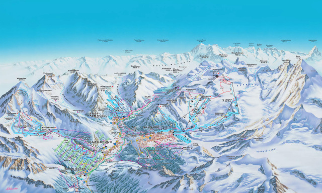 Ski and Snowboard using the Saas-Fee trail map