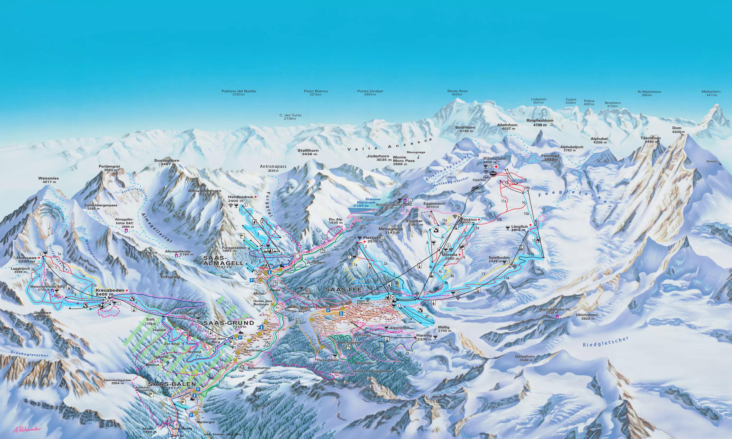 Ski And Snowboard Saas Fee Winter Sports In And Near Saastal