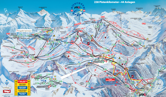 Ski and Snowboard using the Samnaun trail map