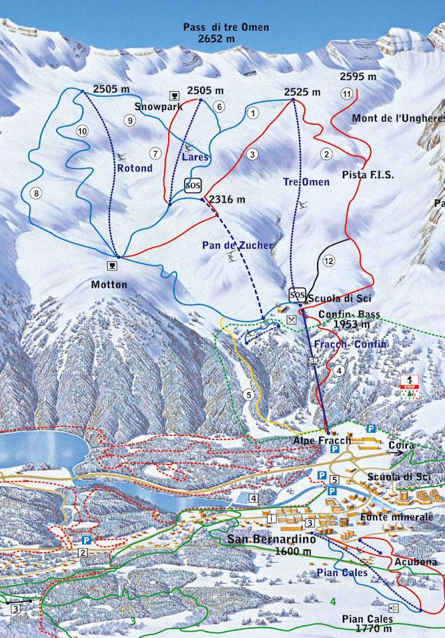 Ski and Snowboard using the San Bernardino trail map