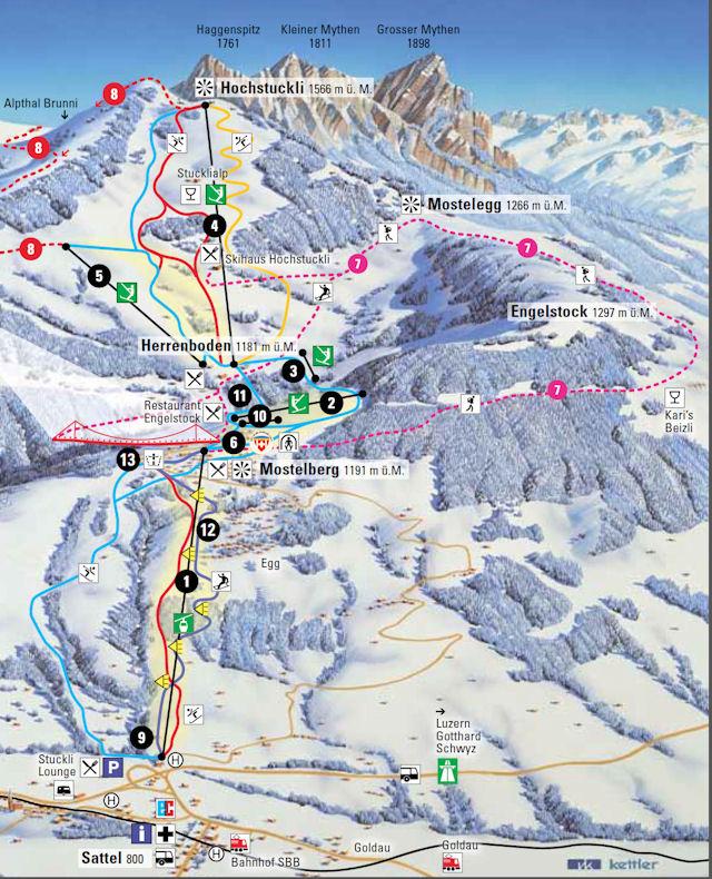 Ski and Snowboard using the Sattel-Hochstuckli trail map