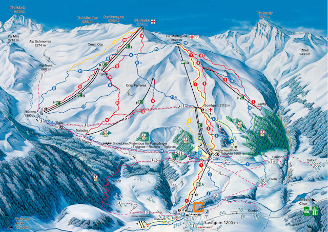 Ski and Snowboard using the Savognin trail map