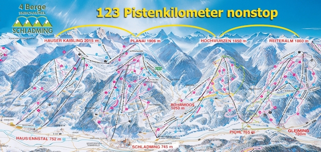 Ski and Snowboard using the Schladming trail map