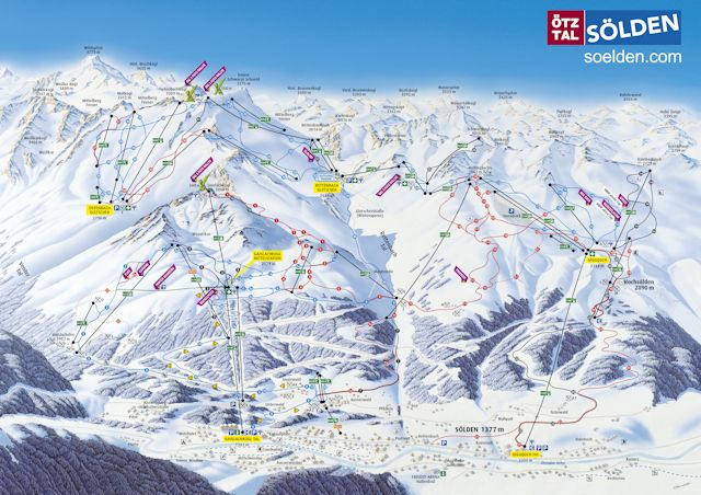 Ski and Snowboard using the Sölden trail map