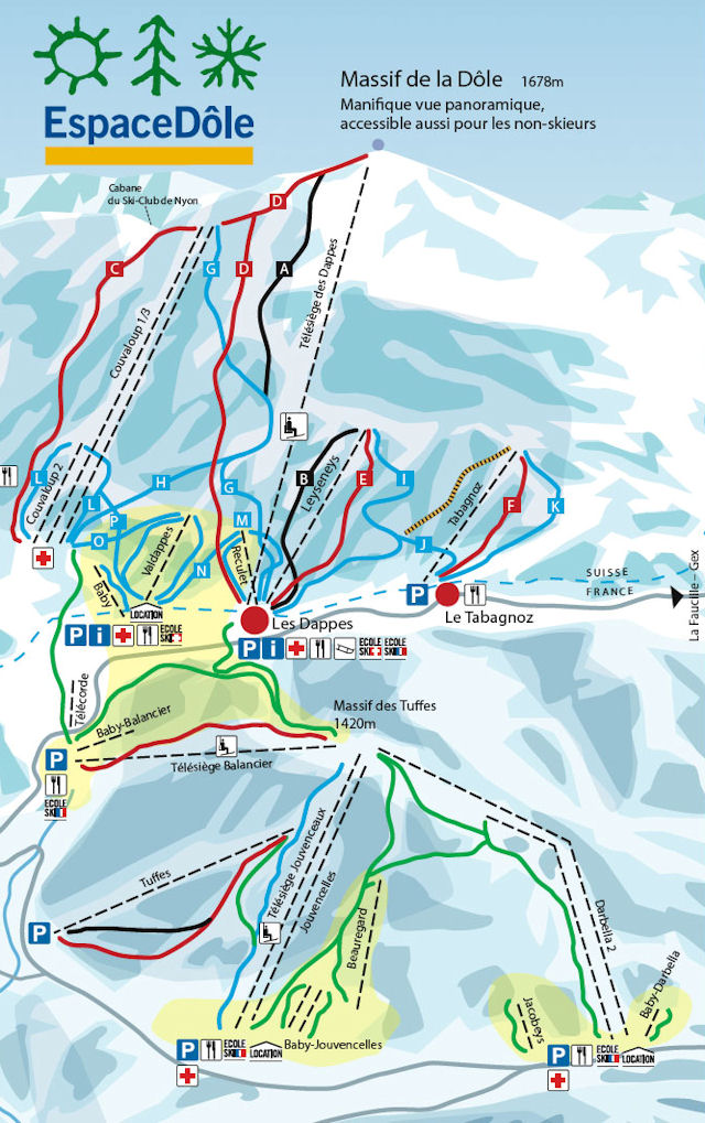 Ski and Snowboard using the St-Cergue trail map