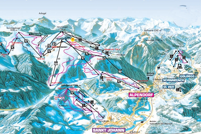 Ski and Snowboard using the St. Johann trail map
