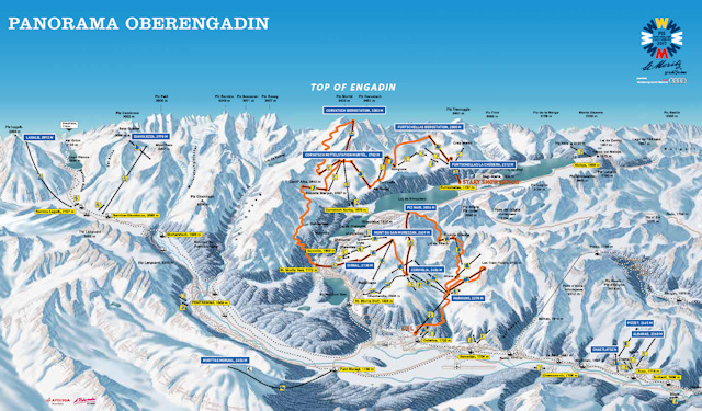 Ski and Snowboard using the St Moritz trail map