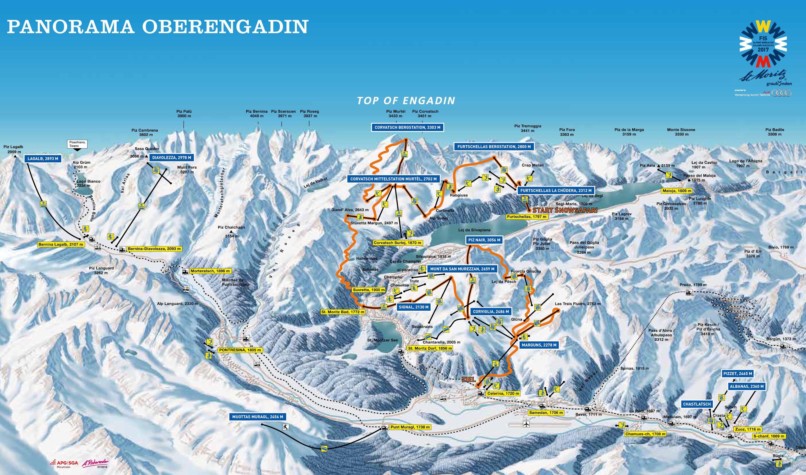 Ski St Moritz by train take the railway to ski or snowboard in