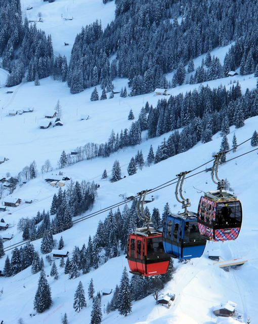 Linked gondolas servicing Tschentenalp