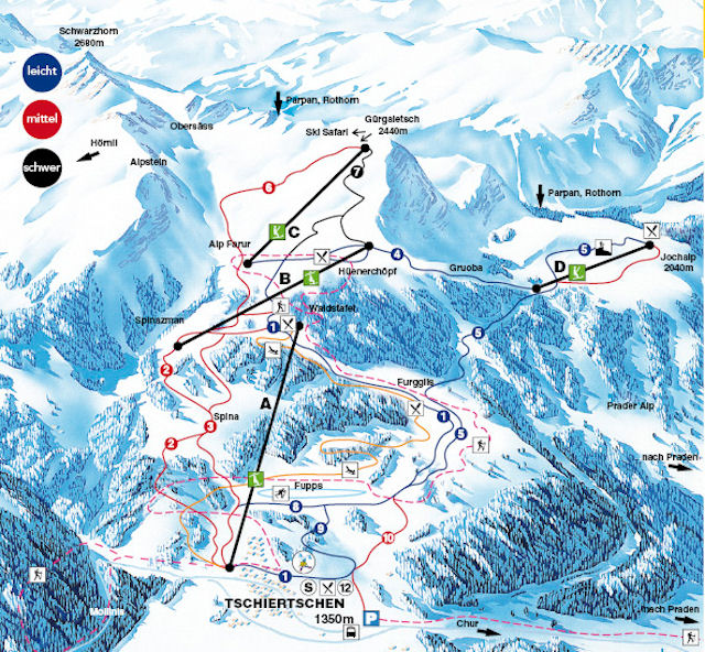 Ski and Snowboard using the Tschiertschen trail map