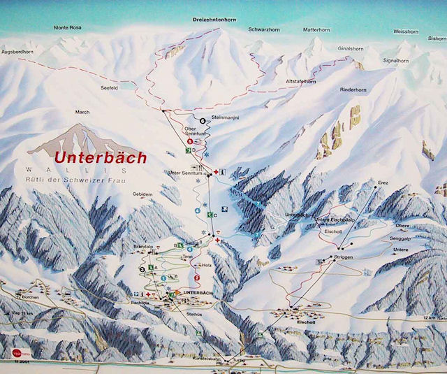 Ski and Snowboard using the Unterbäch trail map