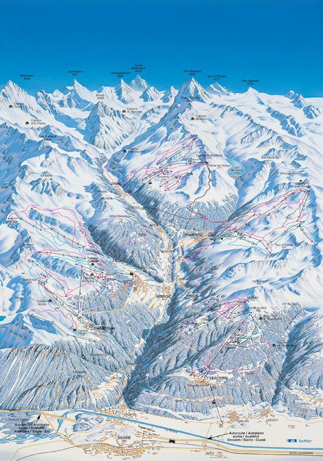 Ski and Snowboard on the pistes at Sierre-Anniviers