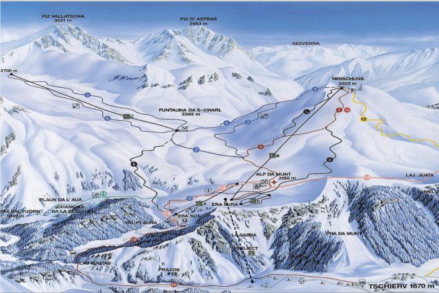 Ski and Snowboard using the Val Müstair trail map