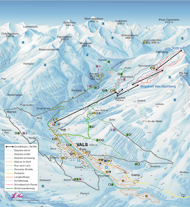 Ski and Snowboard using the Vals trail map