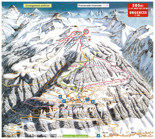 Ski and Snowboard using the Vercorin trail map