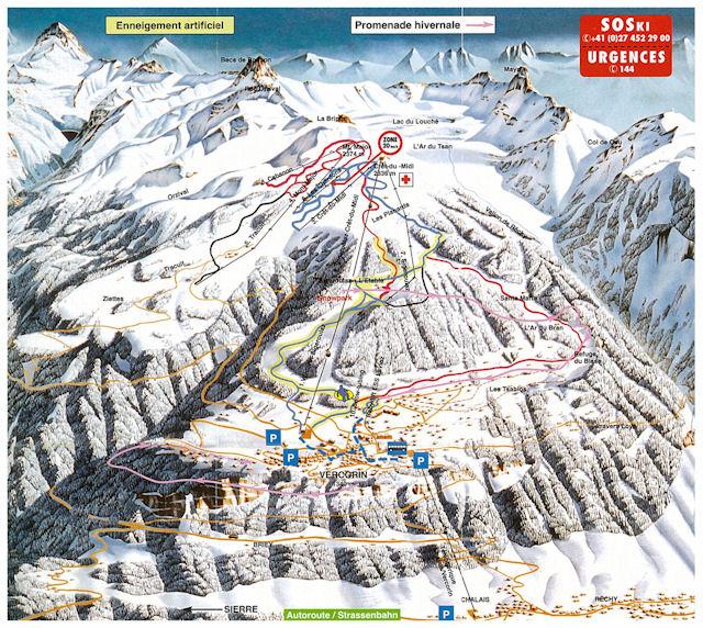 Ski and Snowboard using the Vercorin trail map