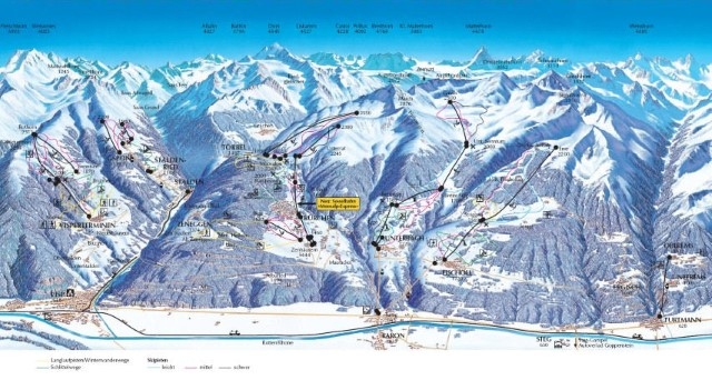 Ski and Snowboard using the Visp trail map