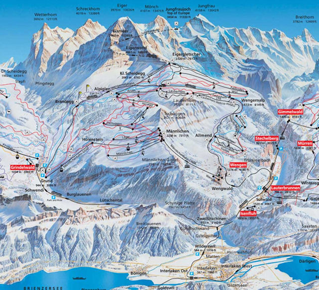 Ski and Snowboard using the Wengen trail map