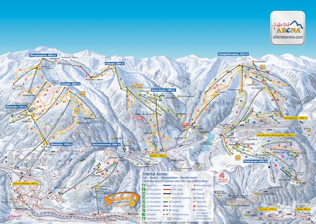 Ski and Snowboard using the Zell am Ziller trail map