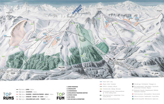 Ski and Snowboard using the Zinal trail map