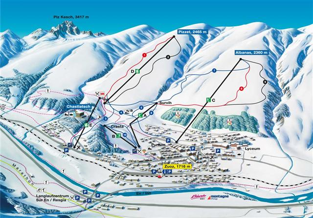 Ski and Snowboard using the Zuoz trail map